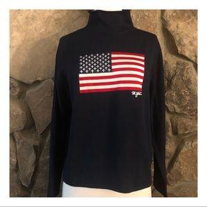 St John Mock Neck American Flag Sweater, P